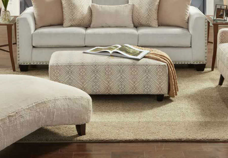 Fusion Argentine Blush Rectangle Accent Ottoman
