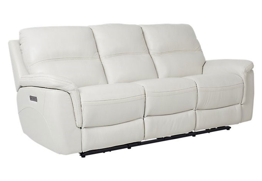 Cheers Santelli Ice Triple Power Leather Match Reclining Sofa