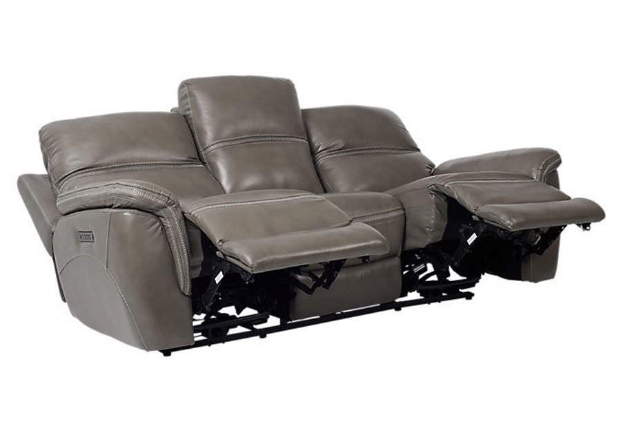 Strange Cheers Santelli Smoke Triple Power Leather Match Reclining Sofa Caraccident5 Cool Chair Designs And Ideas Caraccident5Info