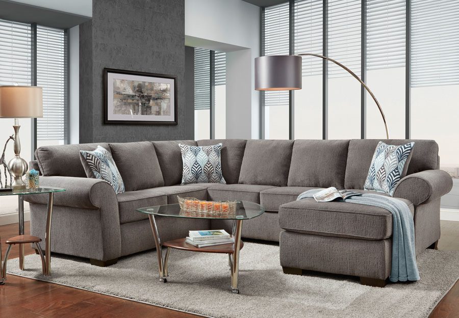 Affordable Furniture Charisma Smoke Chaise Sectional