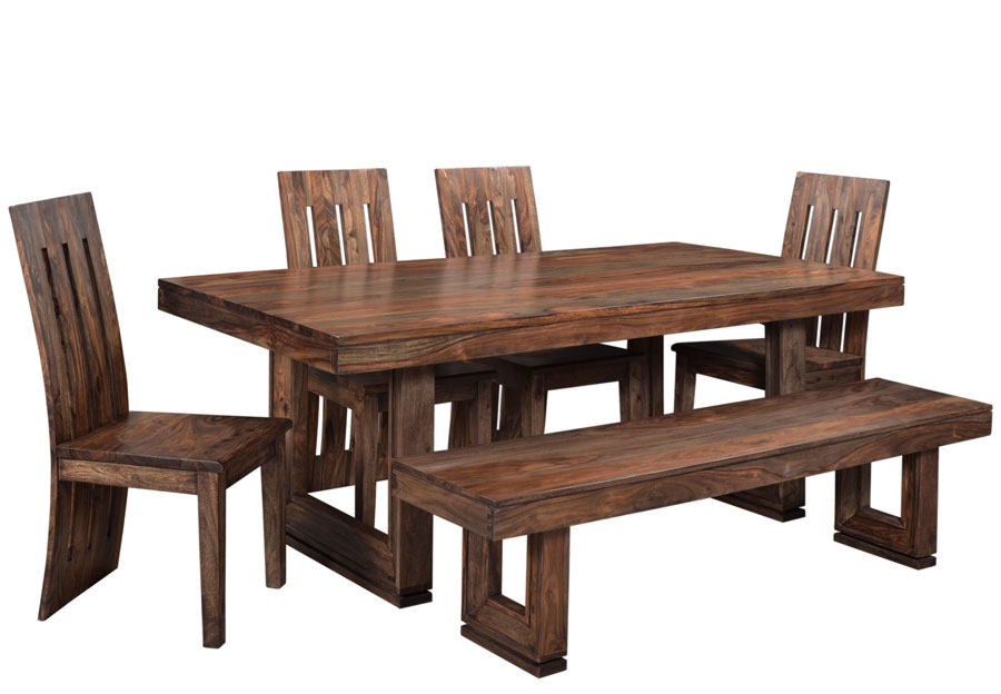 Coast to Coast Brownstone Three Piece Dining Set With Two Benches