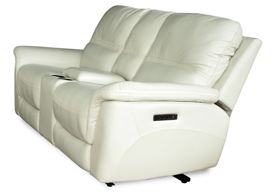 Cheers Santelli Ice Triple Power Leather Match Reclining Console Loveseat
