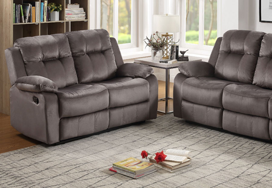 Lifestyles Cosmo Grey Manual Reclining Loveseat