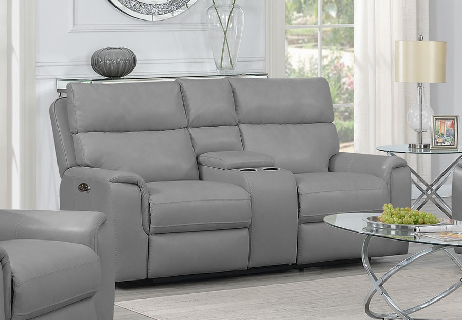Trend Oberon Grey Leather Match Dual Power Reclining Loveseat With Console