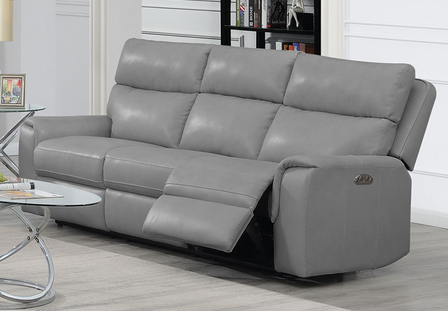Trend Oberon Grey Leather Match Dual Power Reclining Sofa