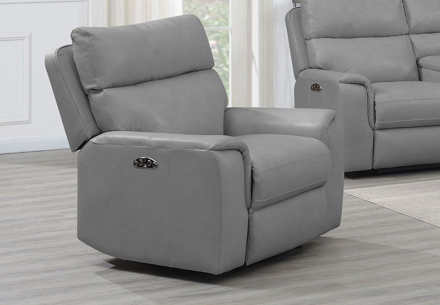 Trend Oberon Grey Leather Dual Power Recliner