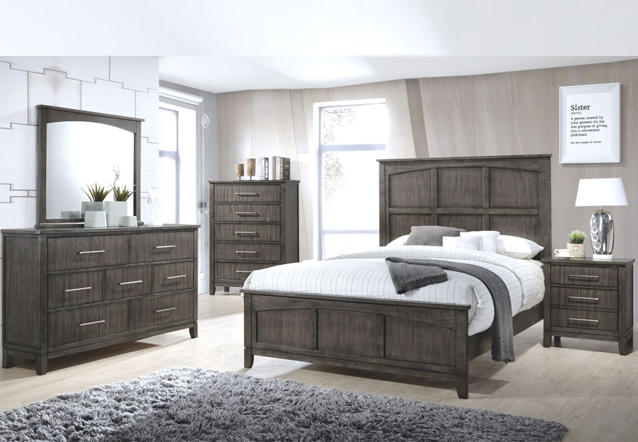 Simmons Preston Grey 6pc Queen Bedroom Set (Headboard, Footboard, Rails, Dresser, Mirror, and Nightstand)