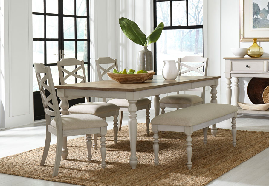 Standard Larson Light Dining Table with Two Side Chairs and Bench