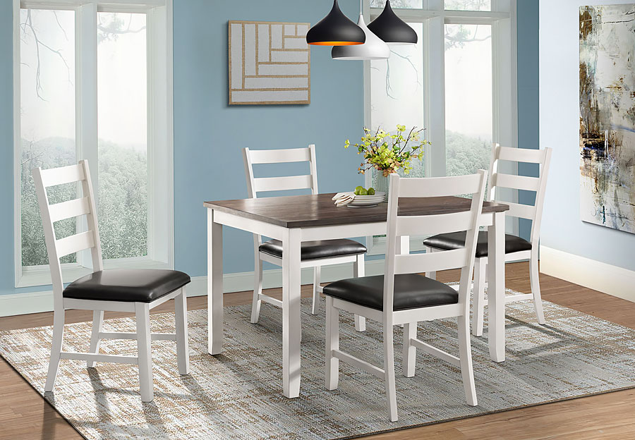 Elements Martin Two Tone White Dining Table And Four Side Chairs