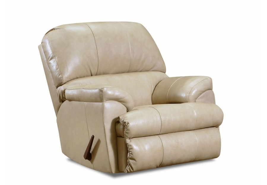 Lane Cypress Cream Leather Match Recliner