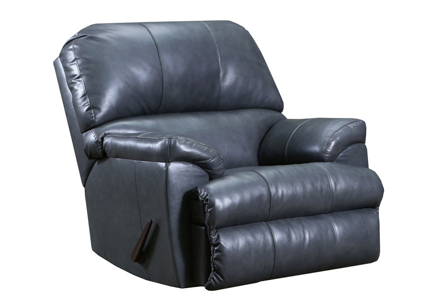 Lane Cypress Fog Leather Match Recliner