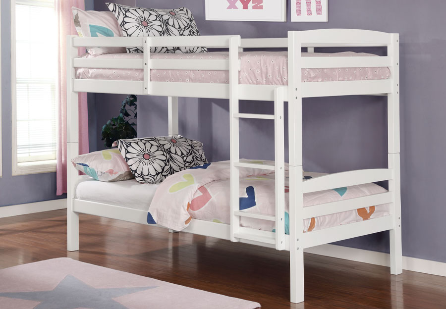 Lifestyles Taylor White Twin Over Twin Bunk Bed