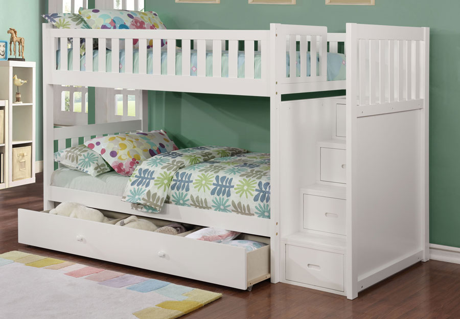 Lifestyles Taylor White Twin Over Twin Storage Staircase Bunk Bed