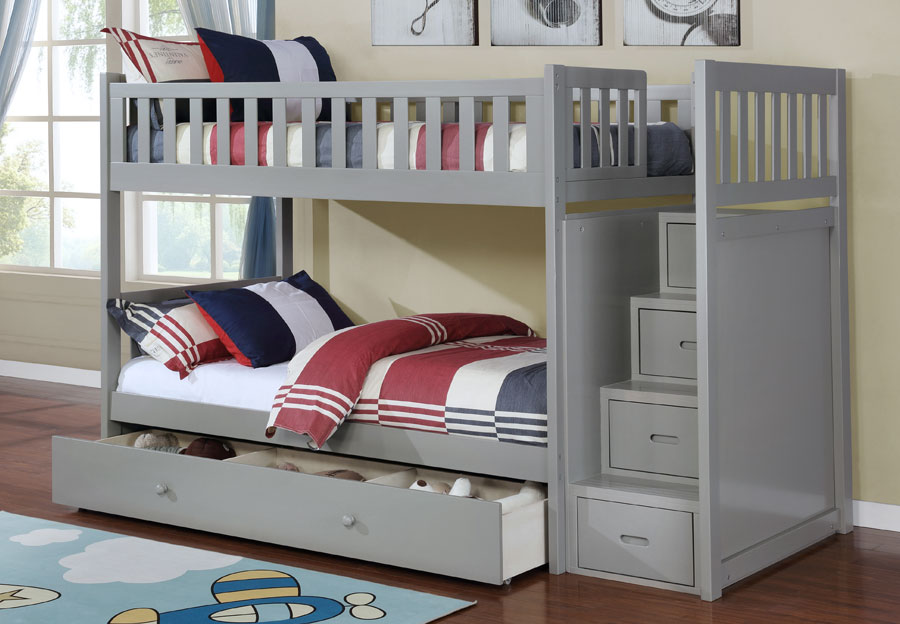 Lifestyles Taylor Grey Twin Over Twin Storage Staircase Bunk Bed