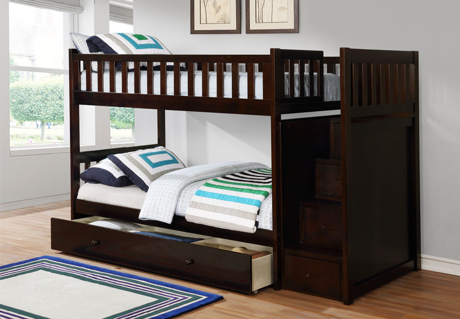 Lifestyles Taylor Espresso Twin Over Twin Storage Staircase Bunk Bed