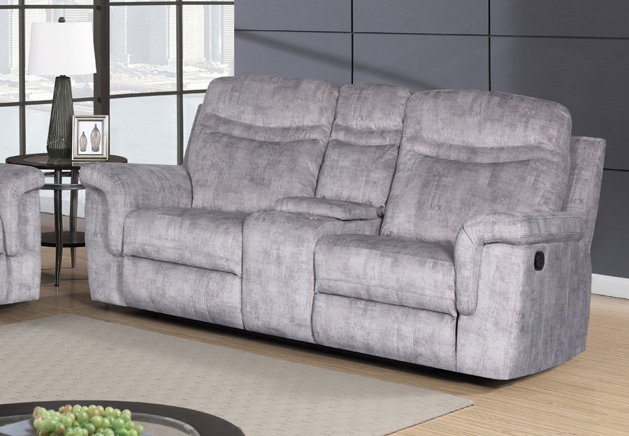 Global Cappa Grey Manual Recline Loveseat with Console
