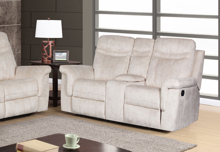 Global Cappa Beige Power Recline Loveseat with Console
