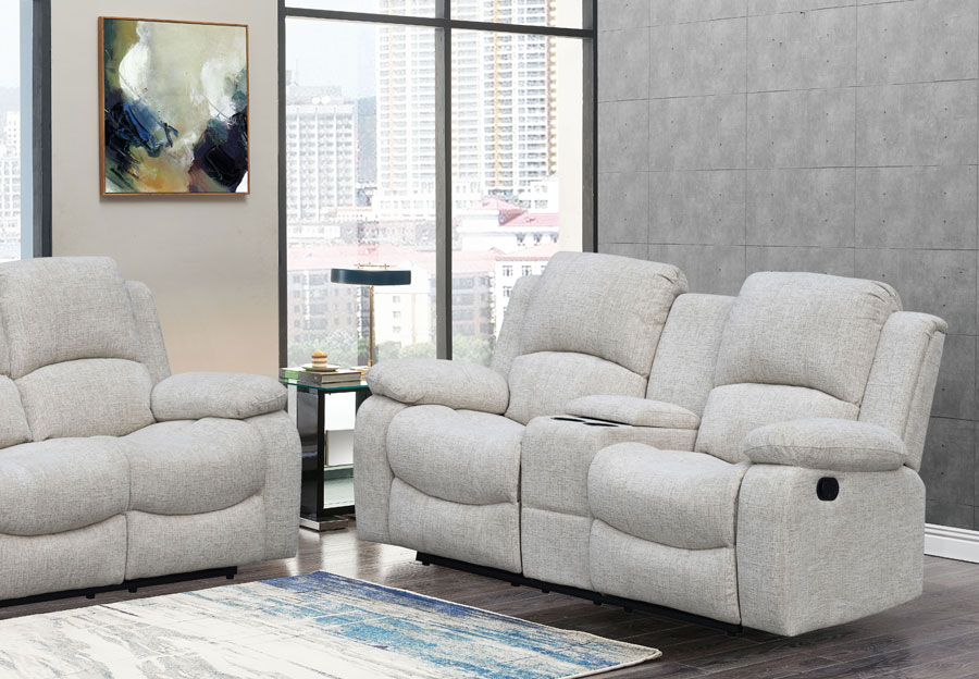 Global Parrot Cream Reclining Console Loveseat