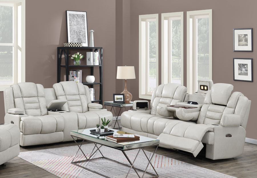 Trend Damon Transformer Cream Leather Dual Power Sofa and Loveseat