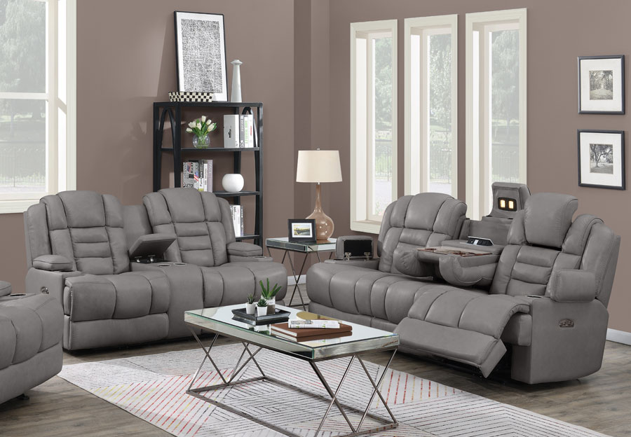Trend Damon Transformer Grey Leather Dual Power Sofa and Loveseat