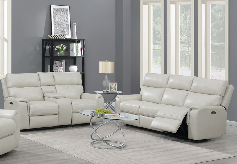 Trend Oberon Cream Leather Manual Dual Reclinging Sofa and Loveseat