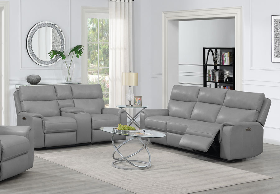 Trend Oberon Grey Leather Power Dual Reclinging Sofa and Loveseat