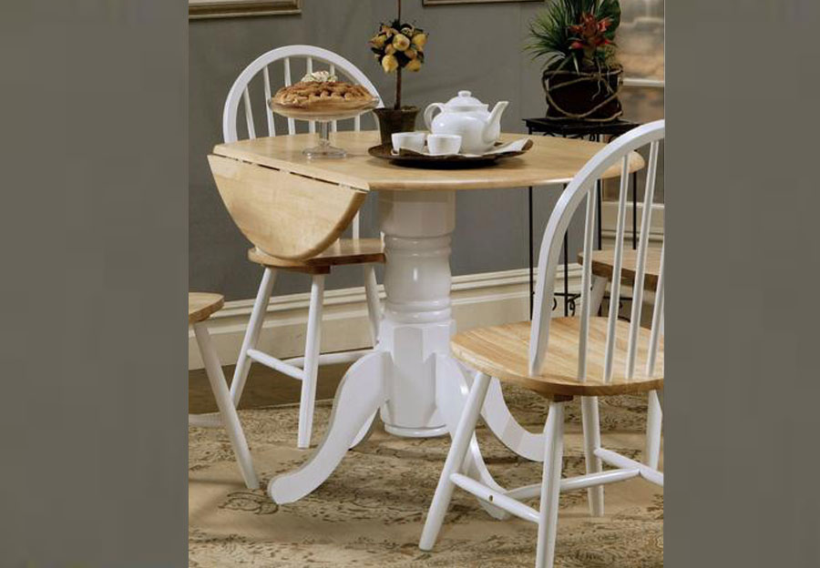 Coaster Natural Wood and White Dining Table with Two Chairs
