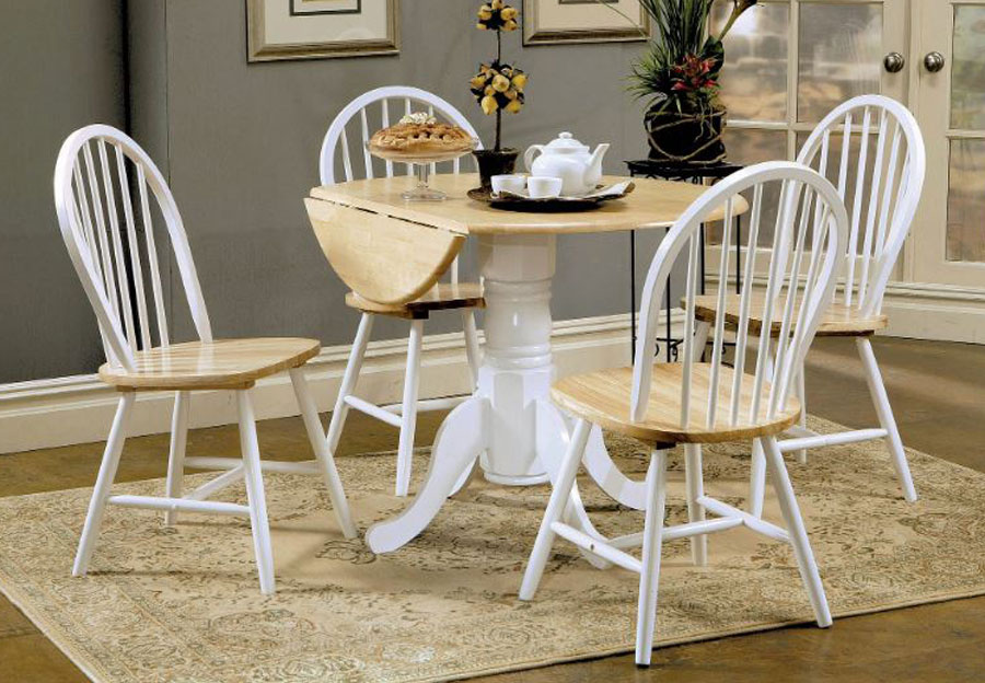 Coaster Natural Wood and White Dining Table with Four Chairs
