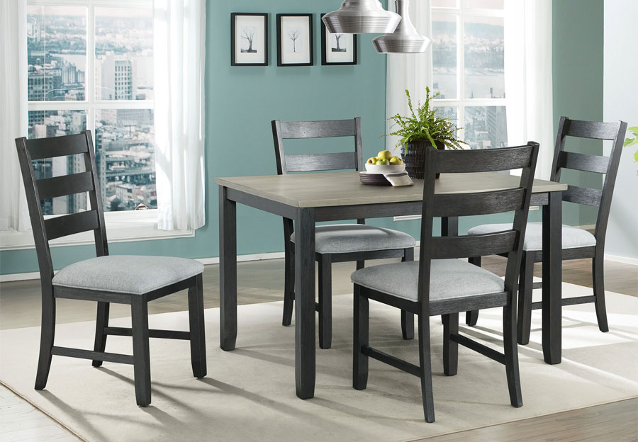 Elements Martin Black Dining Table with Four Side Chairs
