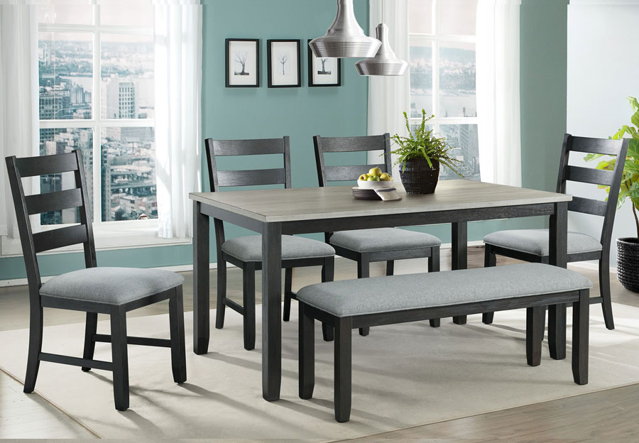 Elements Martin Black Table and Four Chairs and Bench