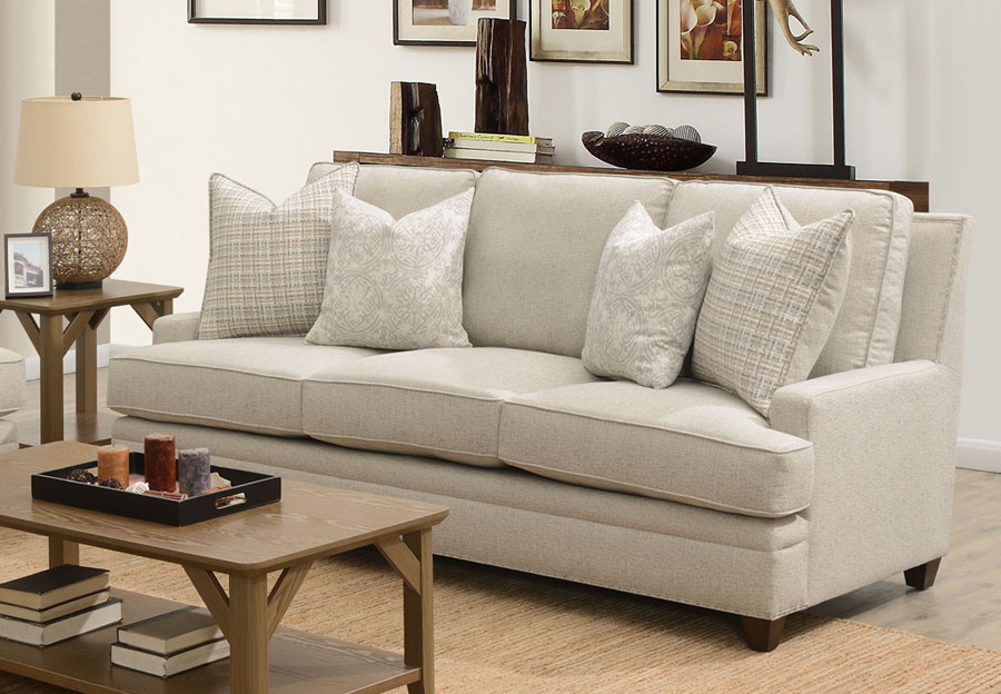 Aria Blake Sofa With Sara Sterling and Key West Winter Accent Pillows