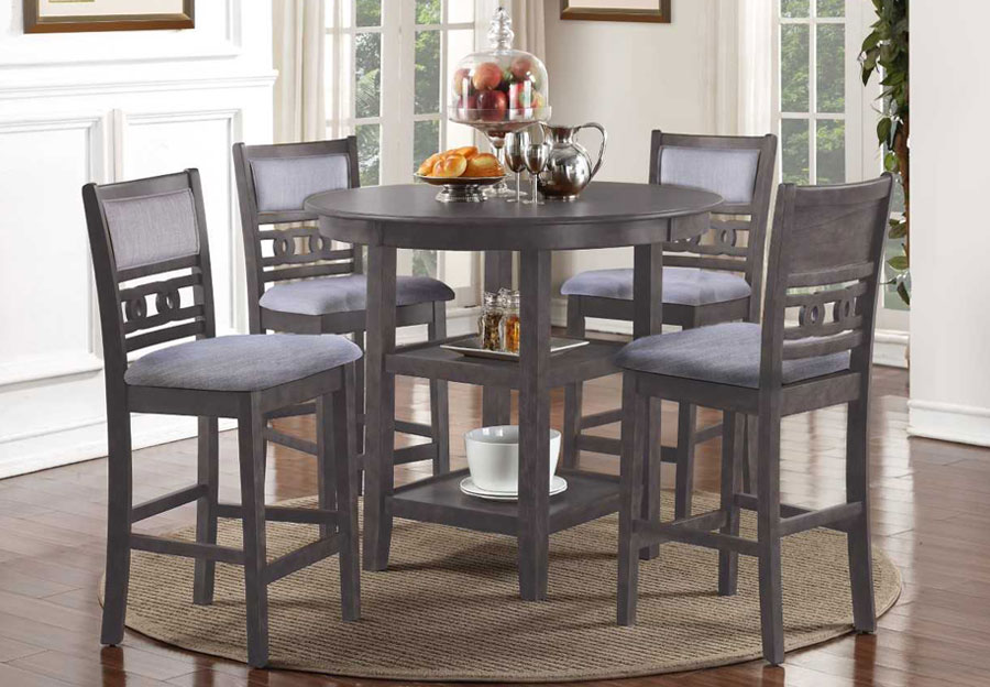 New Classic Gia Grey Round Counter Height Table with Four Counter Chairs