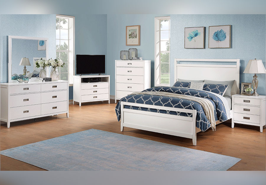 Standard Tyler White Queen Headboard, Footboard, Rails, Dresser and Mirror