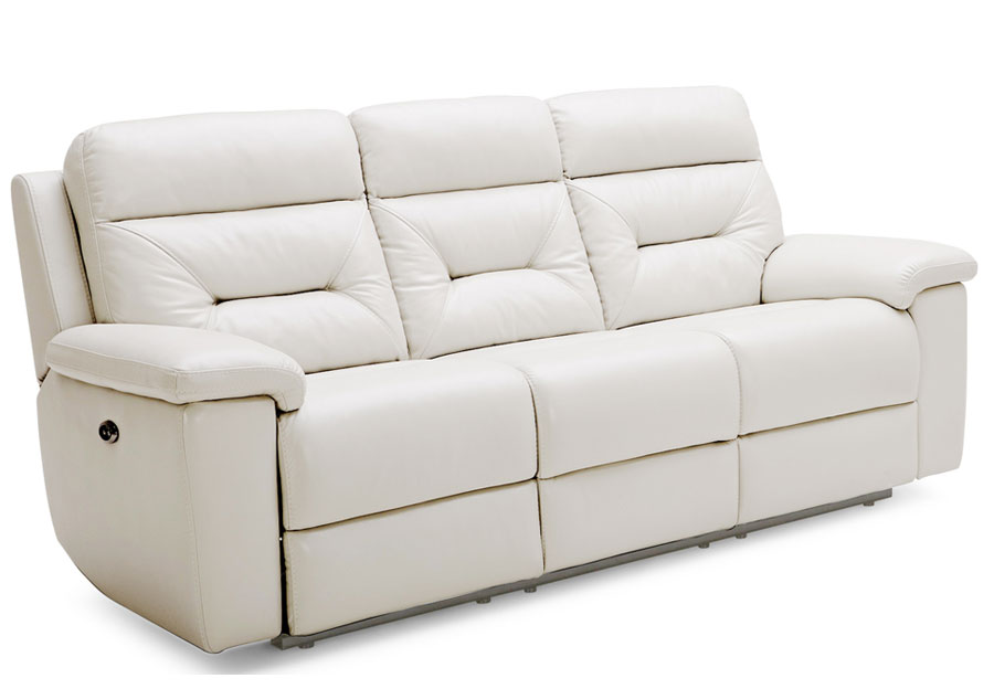 Kuka Grand Point Ivory Dual Power Reclining Sofa Leather Match