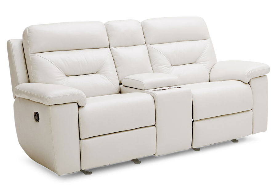 Kuka Grand Point Ivory Dual Power Reclining Console Loveseat Leather Match