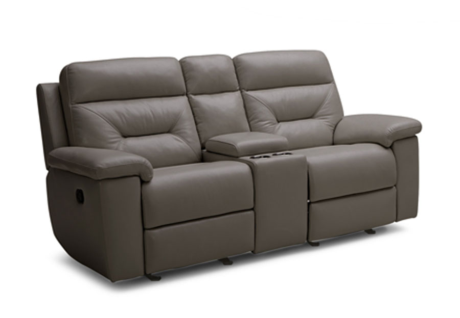Kuka Grand Point Charcoal Manual Reclining Console Loveseat Leather Match