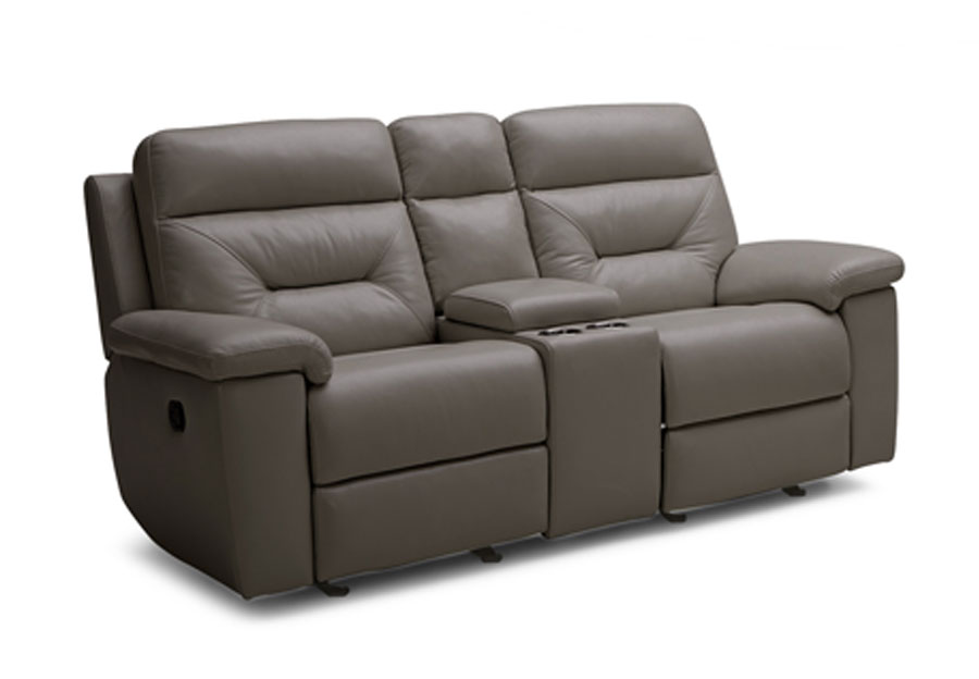 Kuka Grand Point Charcoal Dual Power Reclining Console Loveseat Leather Match