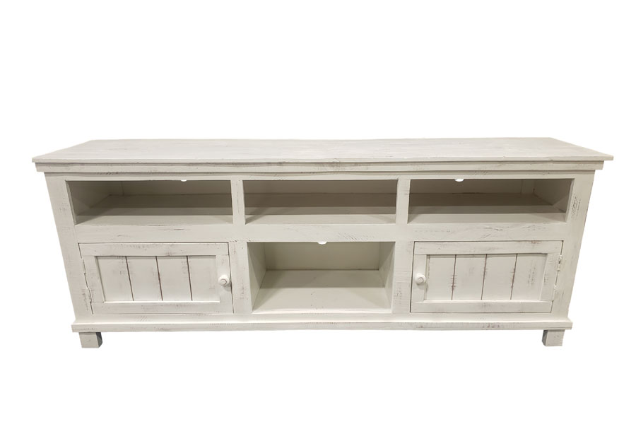 Vintage Furniture 60in Ryder Media Console Two Doors And Shelves In Nero White