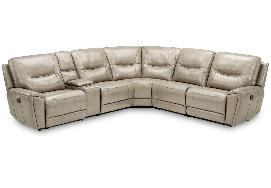Kuka Largo Drive Sand Two Power Reclining Sectional Leather Match