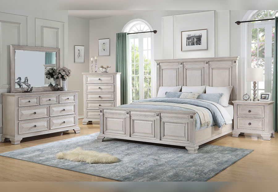 Standard Passages Light Queen Headboard, Footboard, Rails, Dresser and Mirror