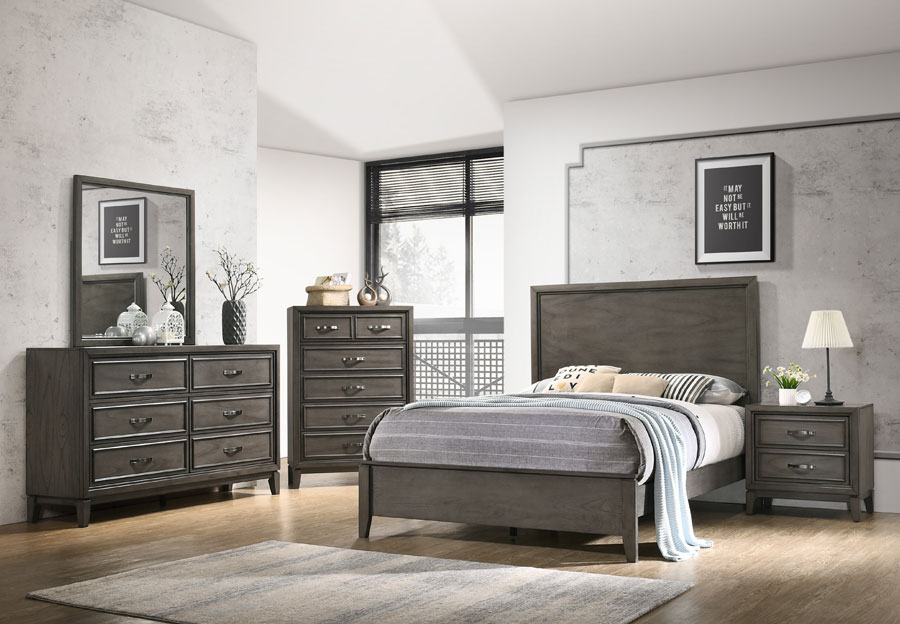 Standard Winchester Grey Queen Headboard, Footboard, Rails, Dresser and Mirror