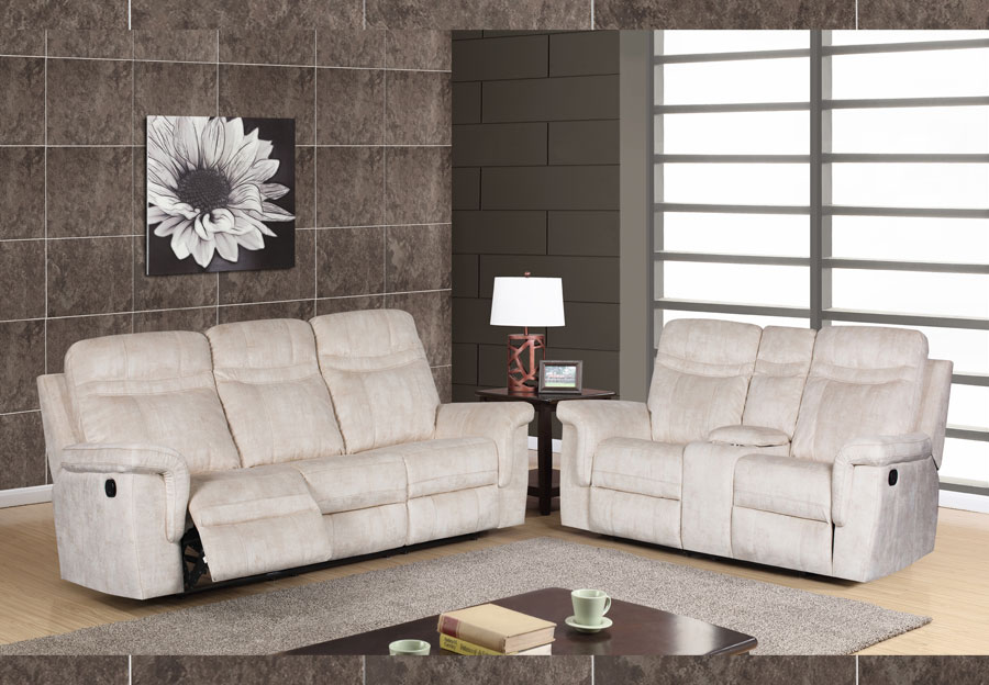 Global Cappa Beige Power Recline Sofa and Loveseat