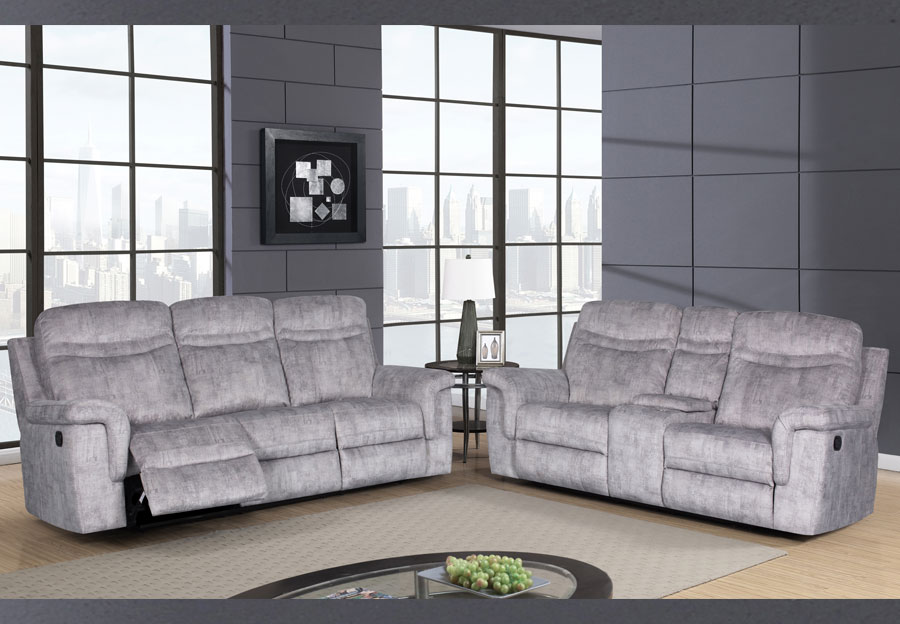 Global Cappa Grey Power Recline Sofa and Loveseat