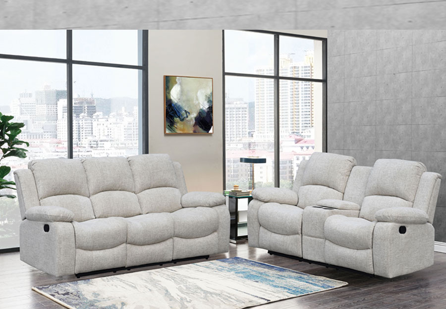 Global Parrot Cream Reclining Sofa and Console Loveseat