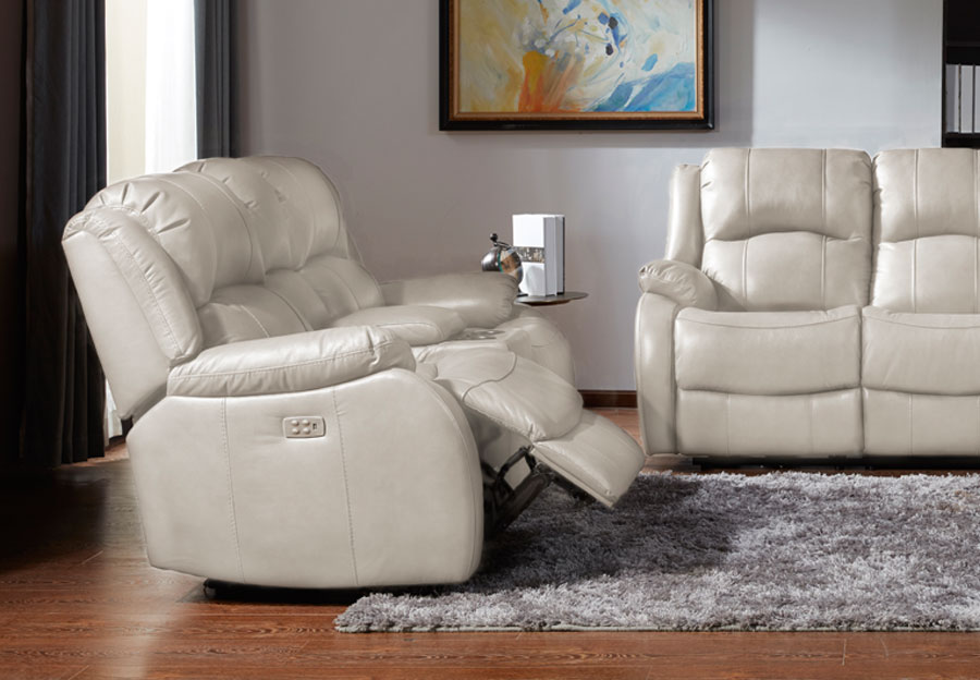 Kuka Cape Town Ivory Leather Match Dual Power Reclining Console Loveseat