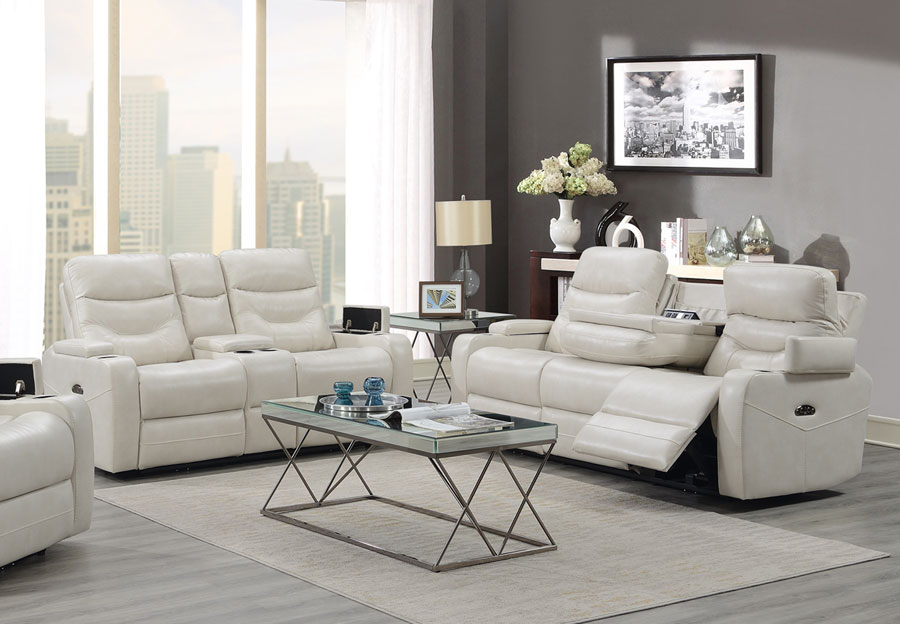 Trend Jackson Transformer Cream Dual Power Sofa And Loveseat