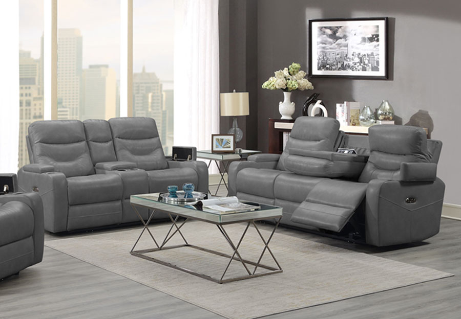 Trend Jackson Transformer Grey Dual Power Sofa and Loveseat