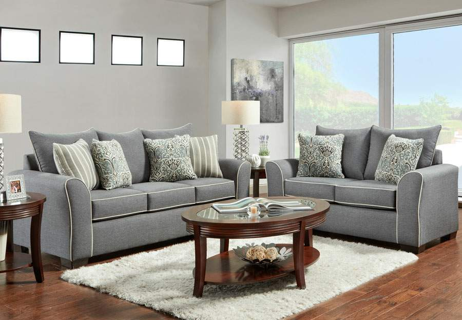 Affordable Furniture Graphite Queen Sleeper Sofa and Loveseat with Ashton Graphite and Remington Graphite Pillows