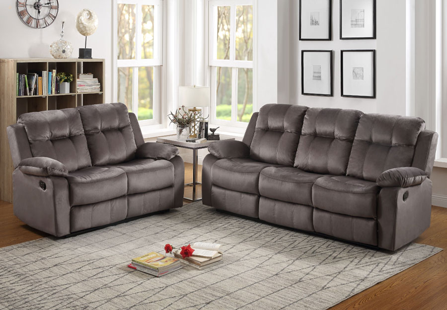 Lifestyles Cosmo Grey Manual Reclining Sofa and Loveseat
