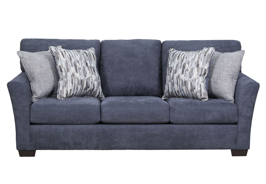 Simmons Upholstery Pacific Steel Blue Sofa Sleeper With Highway Drifwood and Cruze Driftwood Pillows
